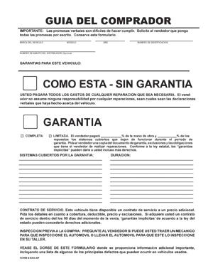 BUYERS GUIDE FORM IN SPANISH