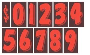 7 INCH RED NUMBER STICKERS