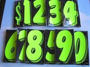 7 INCH CHARTREUSE GREEN NUMBER STICKERS