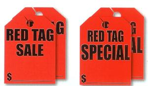 FLUORESCENT RED HANG TAGS