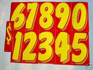 7 INCH YELLOW NUMBER STICKERS