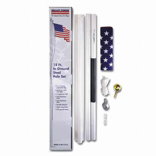 18′ WHITE STEEL SECTIONAL FLAGPOLE