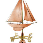 RACING SAILBOAT WEATHERVANE (POLISHED)