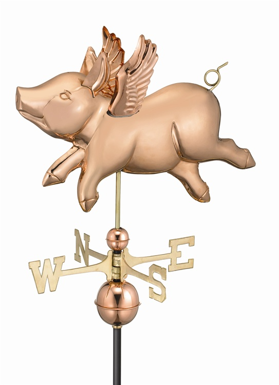 FLYING PIG WEATHERVANE (POLISHED)