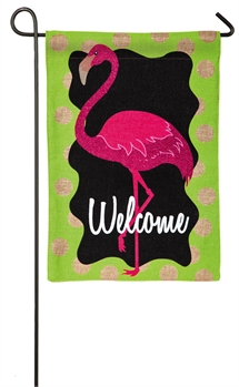 FLAMINGO [BURLAP GARDEN FLAG]
