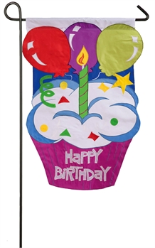 HAPPY BIRTHDAY CUPCAKE [APPLIQUE GARDEN FLAG]