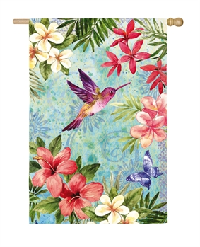 TROPICAL FLOWERS AND HUMMINGBIRD