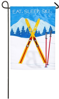 EAT, SLEEP, SKI [APPLIQUE GARDEN FLAG]