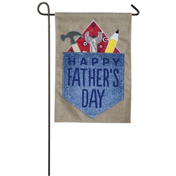 HAPPY FATHER'S DAY [BURLAP GARDEN FLAG]
