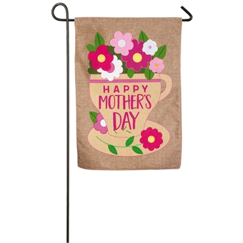 HAPPY MOTHER'S DAY [BURLAP GARDEN FLAG]
