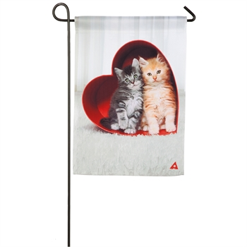 KITTENS IN A HEART BOX [GARDEN FLAG]