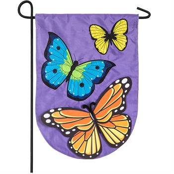 FLUTTERY BUTTERFLIES [APPLIQUE GARDEN FLAG]
