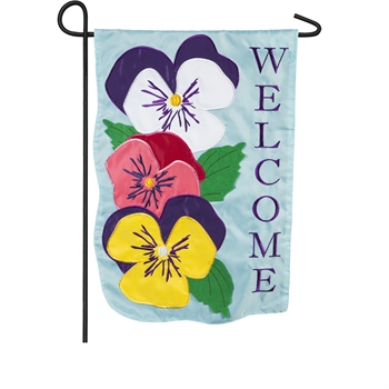 STACKED PANSIES [APPLIQUE GARDEN FLAG]