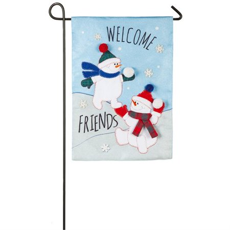 SNOW FRIENDS [BURLAP GARDEN FLAG]